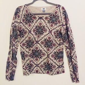 Old Navy Floral Design V Neck Sweater (M)